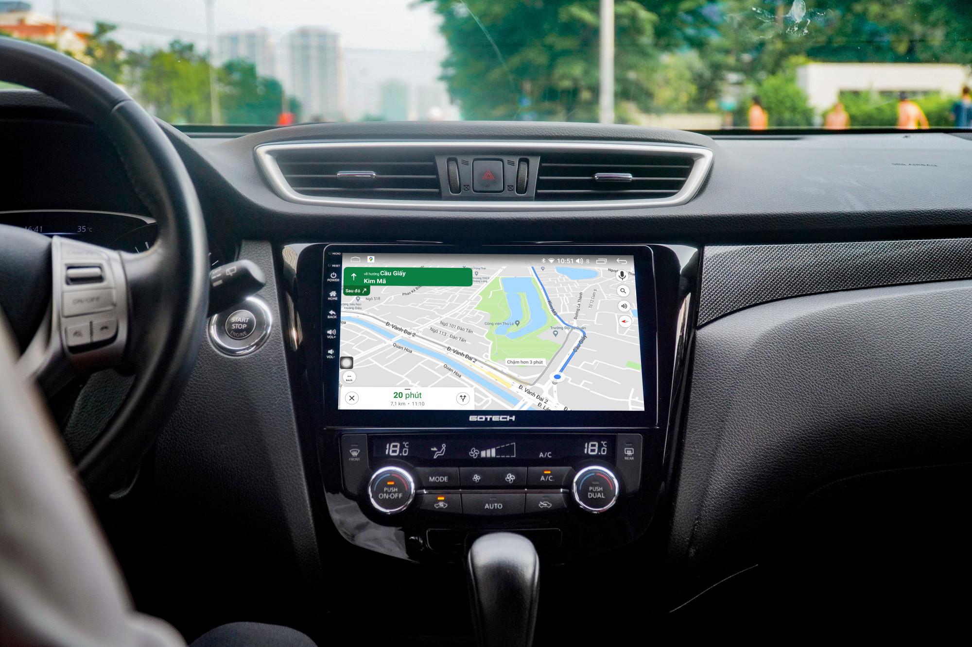 Ứng dụng chỉ đường Google Map trên màn hình ô tô thông minh