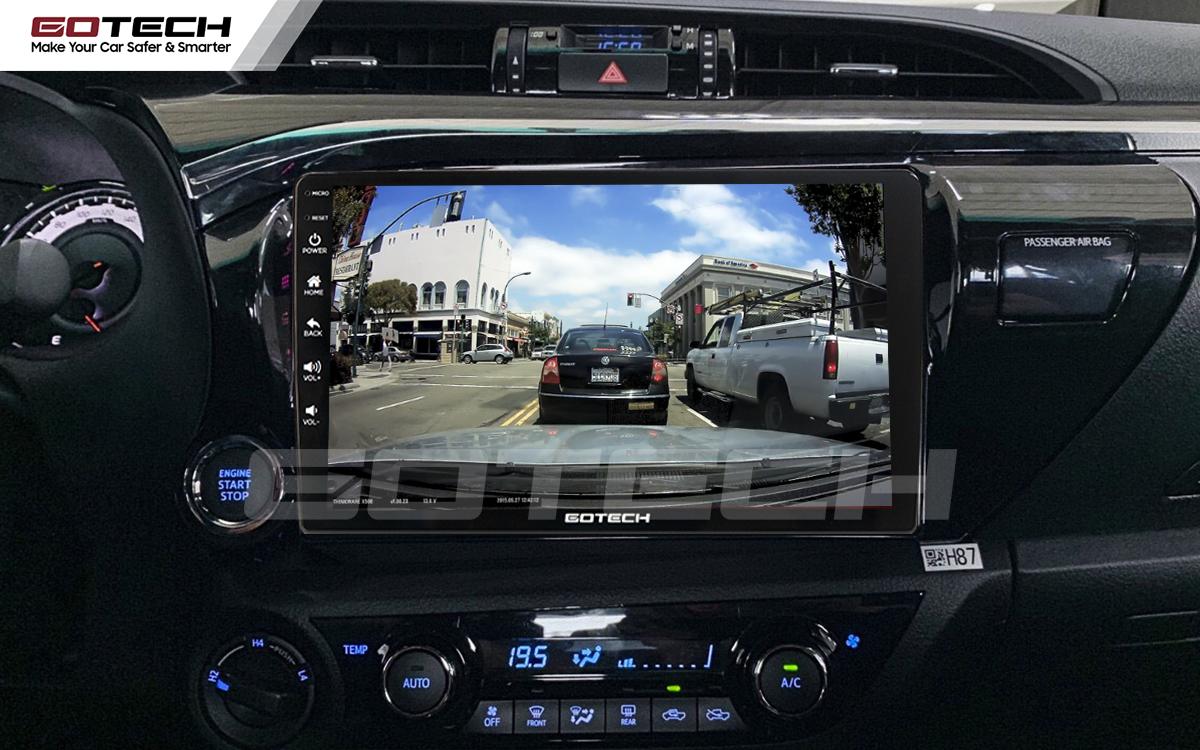 Xem camera hành trình trên đầu dvd ô tô Gotech cho xe Toyota Hilux 2016-2019