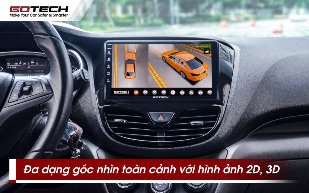 Camera 360 ô tô Gotech GP6 hỗ trợ toàn cảnh 2D, 3D.