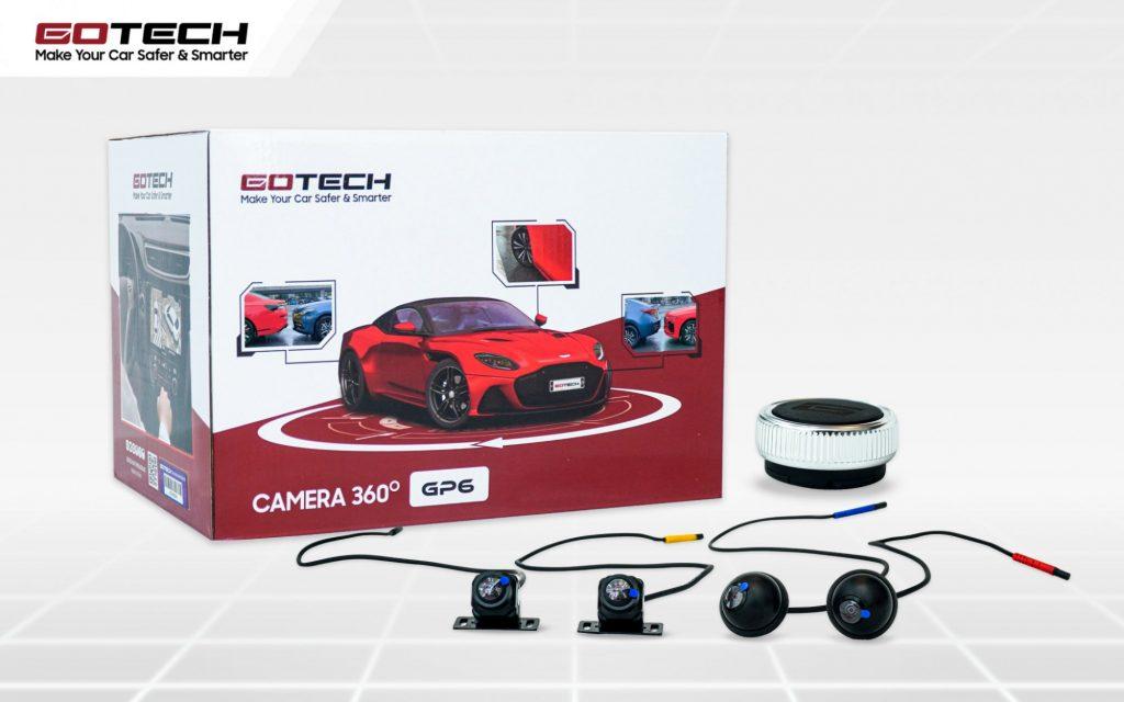 Camera 360 ô tô Gotech Gp6 trang bị hệ thống mắt camera Sony có góc chiếu rộng lên đến 180 độ.