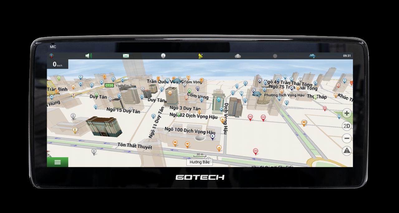 Màn hình nguyên khối GT Mazda Pro cài đặt các phần mềm dẫn đường thông minh