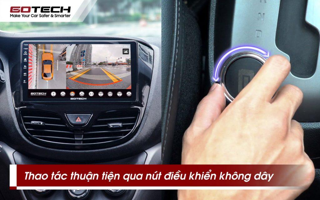 Mở camera 360 độ ô tô gotech gp6 dễ dàng qua thao tác xoay, bấm thuận tiện.