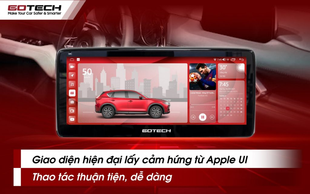 Màn hình Gotech GT Mazda gây ấn tượng với giao diện hiện đại, thân thiện với người dùng.